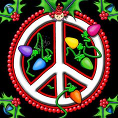 Peace sign with holly - peace on Earth - holiday graphic
