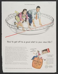 Vintage Pyrex pie plate advertisement from the Saturday Evening Post