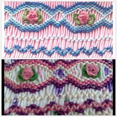 Smocking close up showing buttonhole stitch roses in two colorways ~