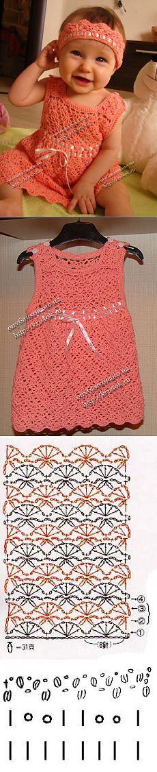 Персиковое платье и повязка для малышки - вязание крючком на kru4ok.ru Crochet Baby Dress Free Pattern, Crochet Dress Girl, Baby Girl Crochet, Crochet For Kids, Crochet Clothes, Knit Crochet, Crochet Stitches, Bolero Pattern, Crochet Baby Dresses