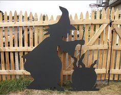 witch's cauldron ornaments | Homemade Life Size Wooden Witch with Cauldron Lawn Decoration