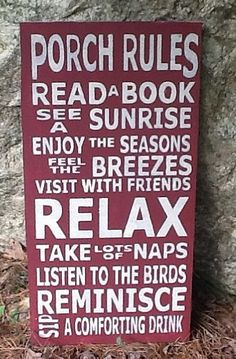 porch rules, beach houses, word art, back porches, backyard, deck, the rules, front porches, vintage style