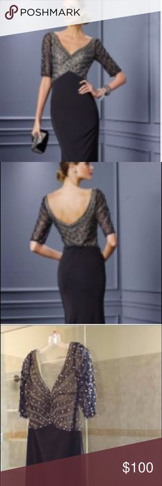 Alyce Paris gown - size 14 - New w/tags Elegant half sleeve evening down, topped with beaded elegance for a simple sparkle and open mid back finishing. Skirt is a jersey knit with a tail. Sophisticated and classy. Charcoal skirt - stunning. Alyce Paris Dresses