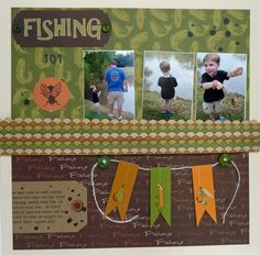 Fishing 101 - Scrapbook.com I like the string, but instead of banners w lures, it could have fish