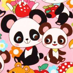 pink kawaii panda bear rabbit oxford fabric Cosmo Japan