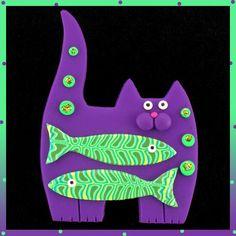 Standing Purple Kitty Cat & 2 Green Fish Pin - SWris