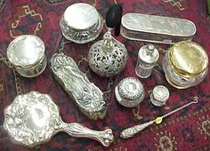 Vintage Dressing Image detail for -and sterling and glass combination vanity items from the Victorian .