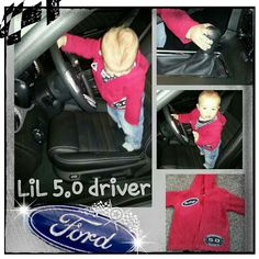 Start them young...5 months old :) Our Mustang Fan in Mommy's 5.0 Mustang driving with his Mustang clothing Mommy started making when he was a newborn :) His daddy and Mommy have had Mustangs since we were both in our teens♥