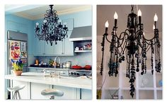I love how the black chandelier, turquoise paint, and kid's paintings go perfectly together.