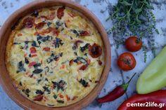Ψητή ομελέτα με γιαούρτι κεφίρ, μελιτζάνα, κολοκυθάκι και ντοματίνια