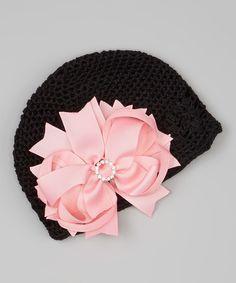 Black Crocheted Beanie & Pink Bow Clip   #crochet #inspiration #ideas