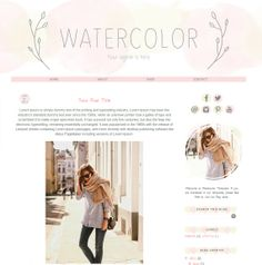 Blogger Template Premade Blog Theme  Watercolor