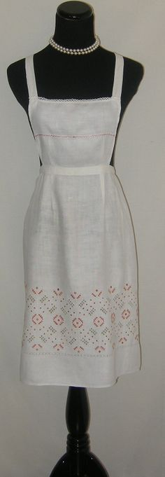 Antique Apron Linen with Peach/Pink Embroidery. by Englishtrifles, $75.00