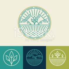 Vector agriculture and organic farm line logos royalty-free stock vector art farming logo design Vector agriculture and organic farm line logos - set of design. Agriculture Logo, Vector Logo, Tea Logo, Tree Logos, Design Elements, Branding Design, Logo Set, Logo Design, Design