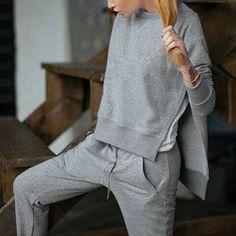 Casual Round Collar Long Sleeve High-Low Hem Gray Sweatshirt + Drawstring Pants Women's Twinset | TwinkleDeals.com