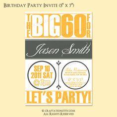 Birthday Party Invitation / invite - 30th birthday MALE - DIY 40th ...
