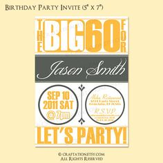 Vintage Retro Birthday Anniversary Party Invitation Invite Digital Design - 21st, 30th, 40th, 50th, 60th - Printable - Circles