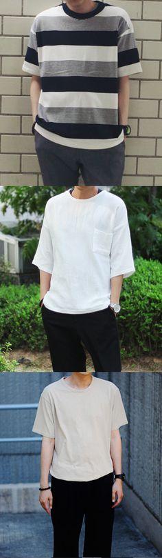 Men's Short Sleeved Shirt / Crew Neck / Boxy / Striped [Lookman] 11Street