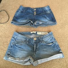 Size 1 shorts bundle! You get both pairs for this price! Two adorable pairs of short shorts, size 1. Darker pair are mid rise and the lighter is low rise. So cute  Indigo Rein Shorts Jean Shorts