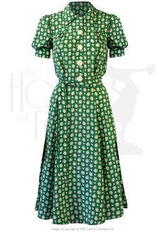 40s Shirt Waister Dress - Emerald Deco Dot