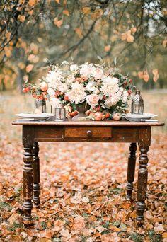 Bodas de otoño, decoración mesa otoño