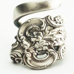Spoon Ring Unique Victorian Organic Scroll Sterling by Spoonier, $49.00