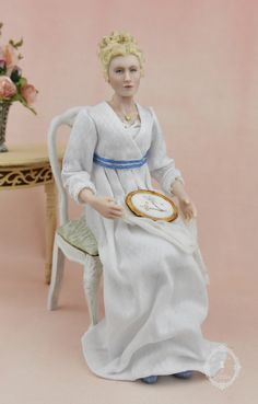 "Inspired from a Jane Austen story, this is ""Fanny"" in 1:12 scale. All original sculpt cast in porcelain, china painted and dressed in Regency era clothing. Dollhouse Dolls, Dollhouse Miniatures, Miniature Rooms, Regency Era, Jane Austen, Porcelain, Sculpture, Statue, Gallery"