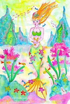 Little Mermaid and Starfish by Rika Dehombreux Watercolor ~ 24 cm x 16 cm