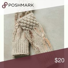 "Northern Lights Fingerless Gloves Anthropologie  Natural cream color with gold accents  Acrylic, alpaca, wool, viscose Hand wash Italy 11""L Anthropologie Accessories Gloves & Mittens"