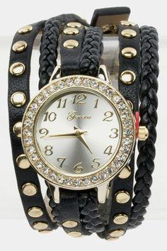 Wrap Around Watch (Black/Gold) - $27