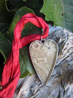 vintage lace jewelry resin bezel jewelry heart by MySistersArt, $25.00