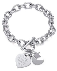 Stainless Steel Charm Toggle Bracelet- 'I Love You to the Moon and Back' Engraved Heart With A Moon and Star Charm, By Regetta Jewelry *** You can find more details by visiting the image link. (This is an affiliate link) Link Bracelets, Stretch Bracelets, Bangle Bracelets, Bangles, I Love You, My Love, Stars And Moon, Image Link, Fashion Jewelry