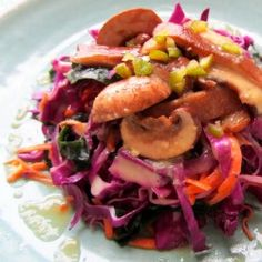 Red Cabbage and Wakame Sweet Miso Salad
