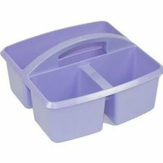 "Lavender Small Utility Caddy by Romanoff Products. $2.25. This cute little caddy is a handy tote for your pens, paints, brushes. Great for toting school supplies, craft supplies, cosmetics, you name it! 9.25""L x 9.25""W x 5.25""H. Gloss finish."