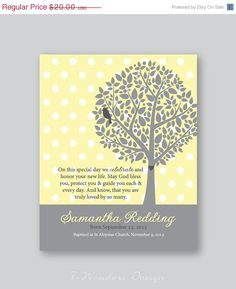 FALL SALE Baptism Gift Girls, Gift for God Child, Personalized Bible Verse Art Print, Christening Gift // Soft Yellow and Grey //8x10 Art Pr by 7WondersDesign on Etsy