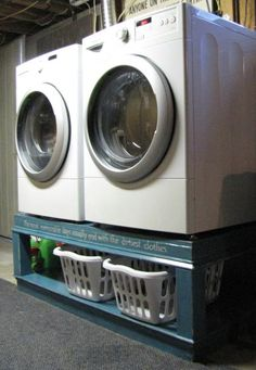 """Our """"Stop Breaking Our Back"""" washer and dryer pedestals 