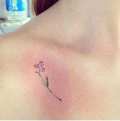 #flower #small #tattoo #purple #lovely #green #girltattoo