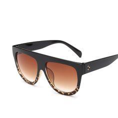 8f6e0f56c851 Flat Top Mirror Sun Glasses Cat Eye Sunglasses Women French brand Design  oculos De Sol Vintage Sun glasses Female Rivet Shades