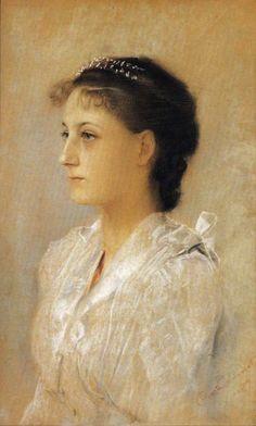 """""""Emilie Flöge, Aged 17"""" by Gustav Klimt, 1891"""