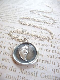 Moon pendant wax seal necklace made from recycled by DreamofaDream, $35.00