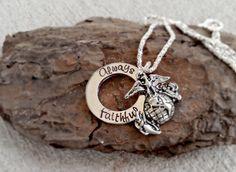 Always Faithful Necklace USMC Wife Marine by SweetAspenJewels