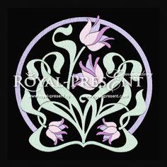 Machine Embroidery Design - Art Nouveau Tulip Design, $2.25