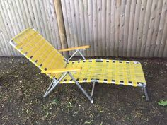Vintage yellow webbed chaise lounge beach chair. Very good condition. Aluminum frame Wood arms!! Very good condition (see pics). Back can be adjusted to different levels from upright to reclined. Adult size. | eBay!