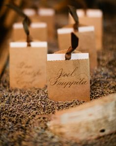 Calligraphed escort cards housed in mini brown paper bags