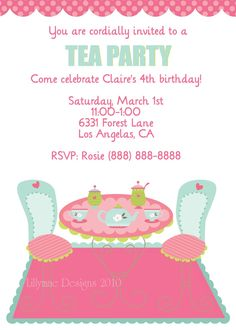 Tea Party Invite  Jcreations    Teas Tea Parties And