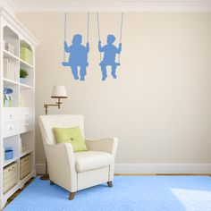 Kids on Swing Wall Decal | Wall Decal World | Perfect for a nursery! #nurserywalldecals