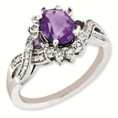 Sterling Silver Genuine Diamond & Amethyst Ring - Brilliant Colored Gemstones - Jewelry Colored Gemstones & Silver. $172.00. FREE GIFT BOX Included with every order!. Every order over $30 Includes FREE-SHIPPING. Perfect for ALL-SEASONS. Colorful Gem Stones are a bright way to bring life to anyone's wardrobe.. Manufactured using only up-to-date- manufacturing techniques, ensuring excellent quality which surpasses the competition. Made from only the finest stones...
