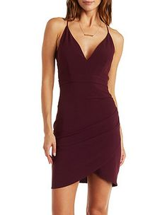 Plunging Strappy Caged Back Asymmetrical Dress: Charlotte Russe