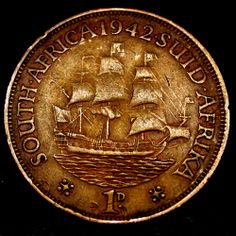 1942 South Africa 1 Cent TALL SHIP Coin in GREAT SHAPE! Sell Coins, Antique Coins, Old Money, World Coins, Rare Coins, Tall Ships, African History, Coin Collecting, Archaeology