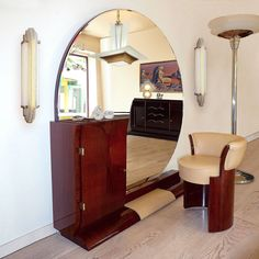 Art Deco Coiffeuse with Tabouret by Jean Pascaud - Art Deco Coiffeuse with Tabouret by Jean Pascaud - Art Deco Furniture, Unique Furniture, Furniture Design, Art Et Architecture, Lampe Art Deco, Living Tv, Dressing Table Design, Art Deco Vanity, Art Deco Bedroom